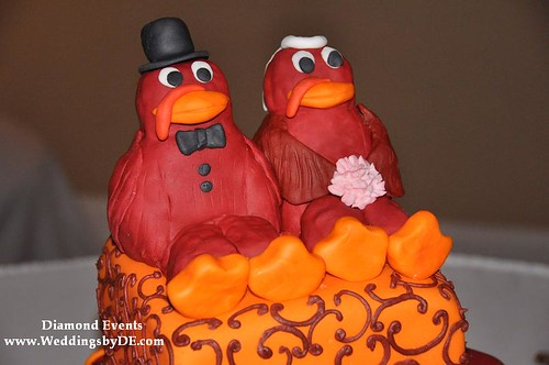 Hokie Bird Bride and Groom cake topper