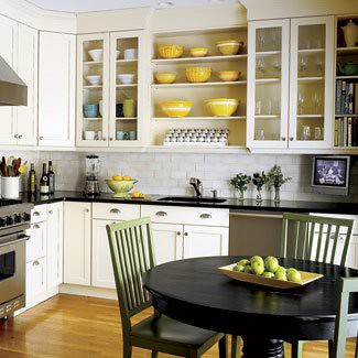 The Estate of Things chooses Black White Yellow Kitchen with Exposed Shelves