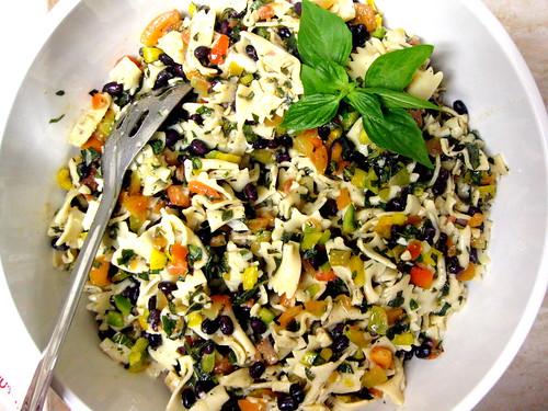Farfalle and black bean salad