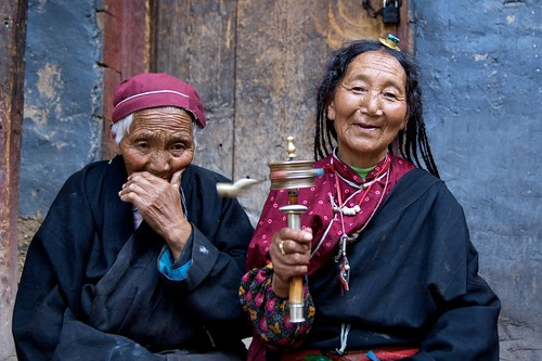 Two Tibetan women in Dege, Tibet