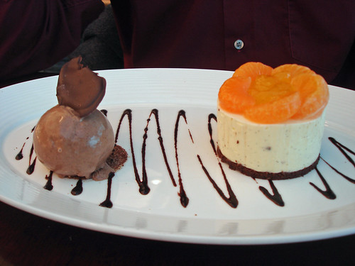 Mandarin Cheesecake with Chocolate Ice Cream