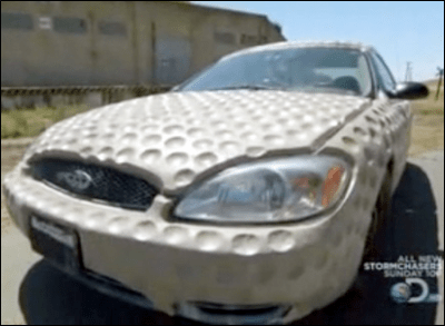 Mythbusters Ford Taurus covered in golfball-like dimples
