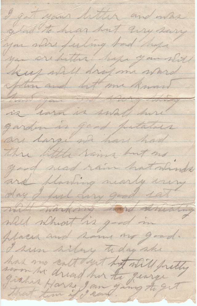 July 19, 1912 L.J. Anderson to Freeta Anderson Page 2