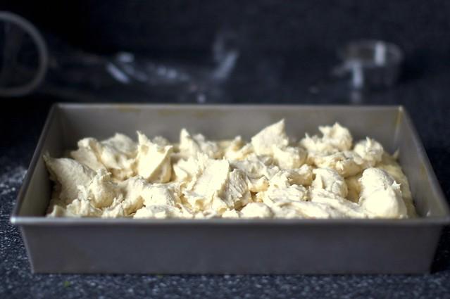 gooey batter, dolloped over cake dough