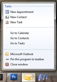 Office 2010 Outlook 2010 Jumplists