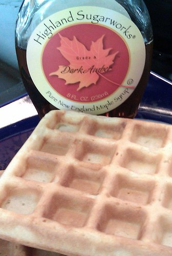 Homemade Waffles and Maple Syrup
