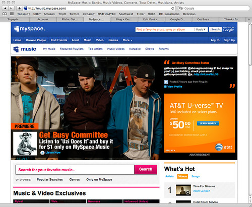 Get Busy Committee MySpace Music Billboard