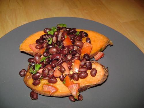 Black Bean-Smothered Sweet Potato