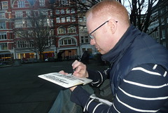pete, sketching in golden square, soho