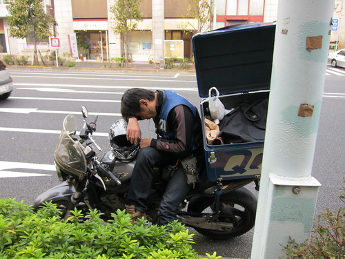 Sleeping on a motorbike