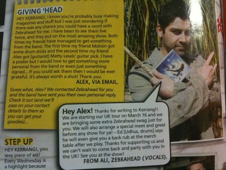 Alex gets a letter published in Kerrang!