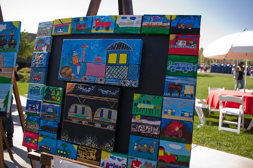 Also found at the East L.A. Farmers Market were paintings of trains created by local children.