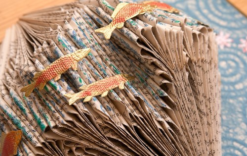 Altered Book: Swimming in a Sea of Words - detail