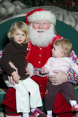 Claire and Juliet with Santa Claus