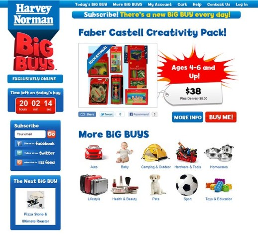 screenshot Harvey Norman's Big buys deal site