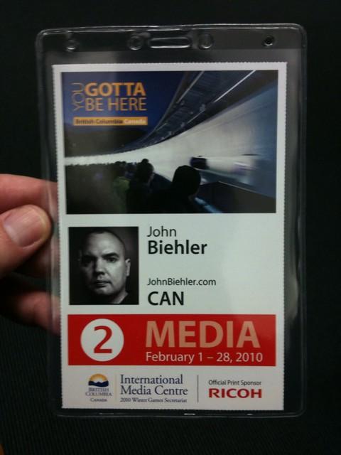 Picked up my media badge...woot! #van2010