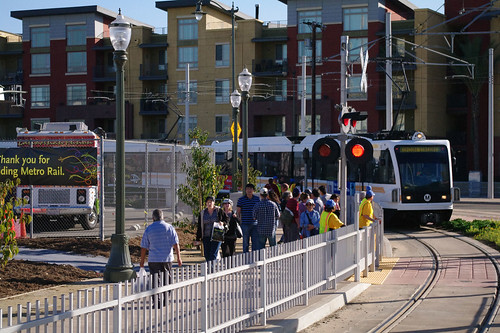 A Gold Line coming from East L.A. arrives at the Little Tokyo/Arts District station.