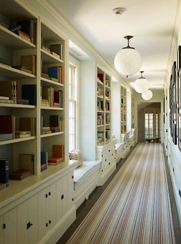 Gambrel bookcase hallway
