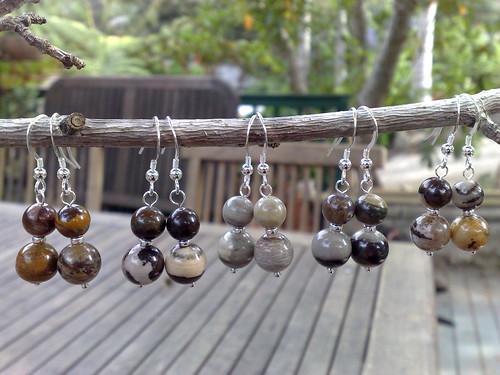 Jupiter jasper and sterling silver earrings