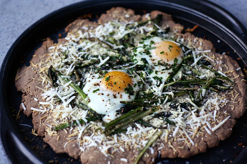Gluten-free Whole Grain Pizza with Asparagus, Parmesan and Eggs