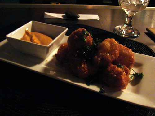 salt cod fritters, smoked chili mayo