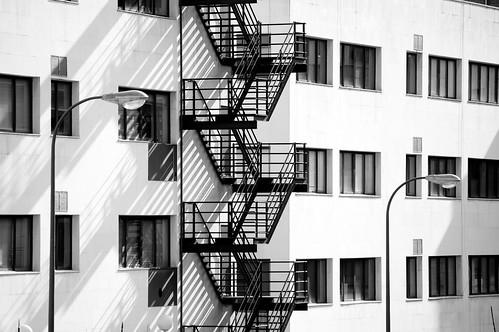 Escaleras y farolas