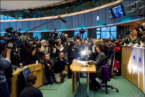 The press gather round Lady Ashton during her hearing at the EP