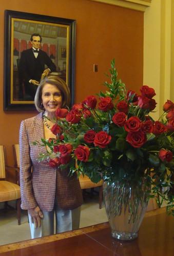 Speaker Nancy Pelosi With 70 Roses