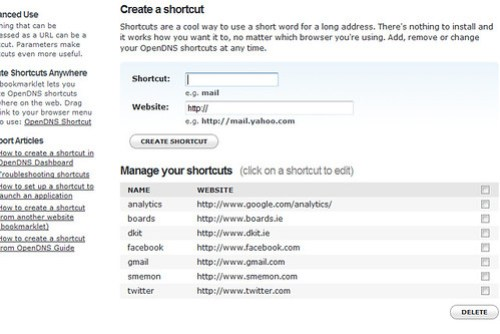 open dns shortcuts