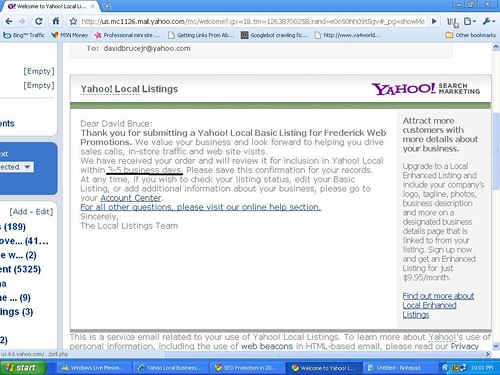 Yahoo Local Listings Confirmation Email