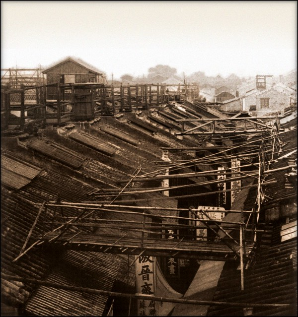 Bridges By Which The Night Police Of The Roofs Cross The Streets, Canton, China [1900] Underwood & Co. [RESTORED]