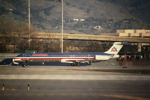 American MD 80 parked north of SJC
