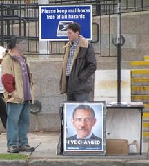 Lyndon LaRouche follower (right)