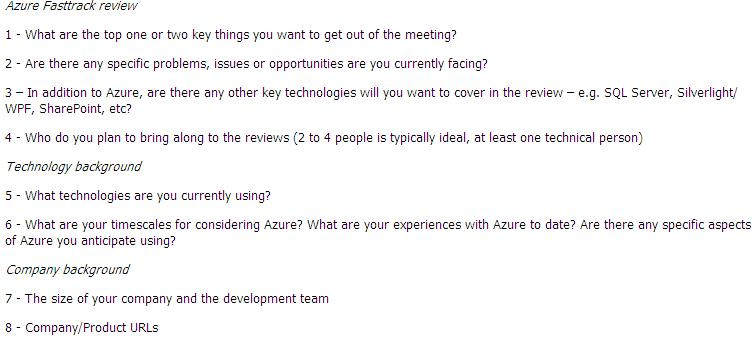 Azure Fasttrack review emailing details