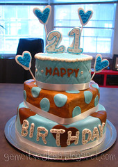 Blue and Brown 21st Birthday Cake