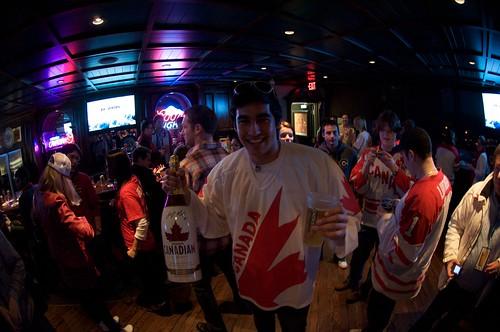 Watching Olympic Hockey at the Molson Brewery