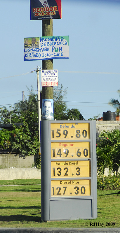 Election Posters on a post and the price of gas.