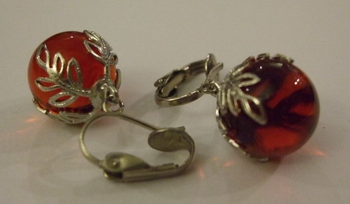 Vintage Earrings Crown Baubles Red