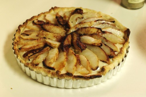 roasted pear creme brulee tart