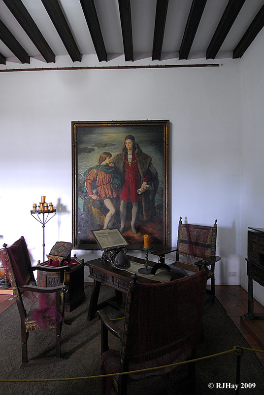 Painting of Columbus and his son Diego -  Alcazar de Colon (Palacio de Diego Colon), Santo Domingo, Dominican Republic