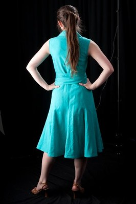 Teal Wrap Dress Back