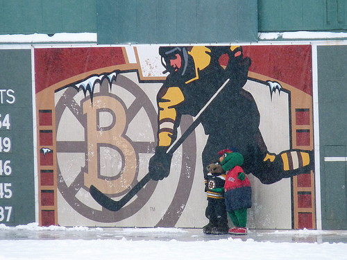 Blades & Wally pose by the Green Monster