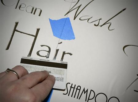 mirro stencil sticker cut out bathroom words