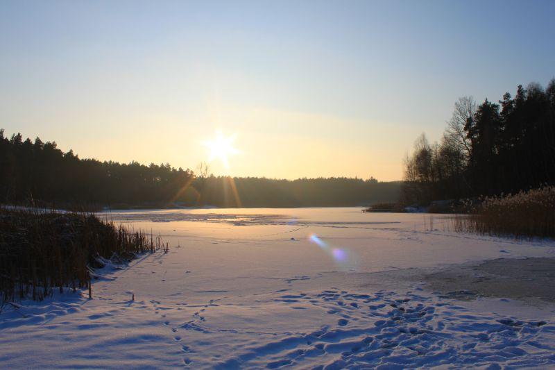 zima, winter, jezioro, lake