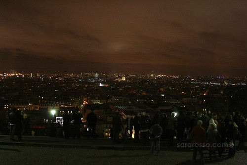 Nighttime falls on Paris, France - a view from Sacre Coeur Church
