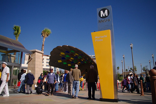 The area around the Mariachi Plaza station is a surprisingly open and welcoming public space for Los Angeles.