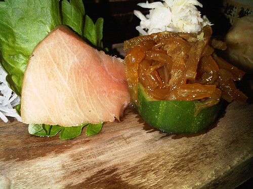 Sashimi: O toro (blue fin tunabelly), jellyfish, and blue crab