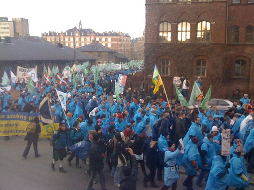 Climate change march from downtown Copenhagen to COP15 site.