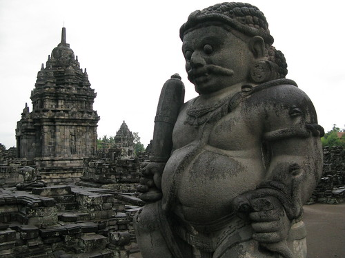 A stone statue stands guard at Plaosan in Central Java, Indonesia.