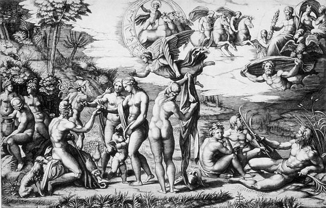 The Judgement of Paris (1510-1511) Engraving by Marcantonio Raimondi after Raphael